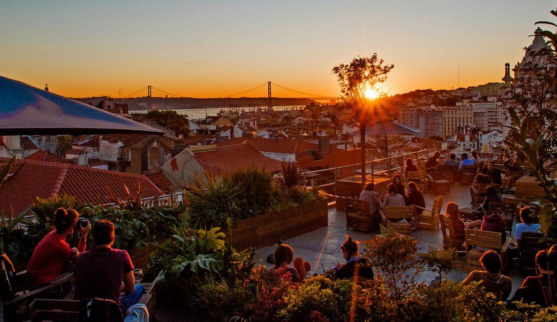 bairro alto lisbon rooftop at sunset bar