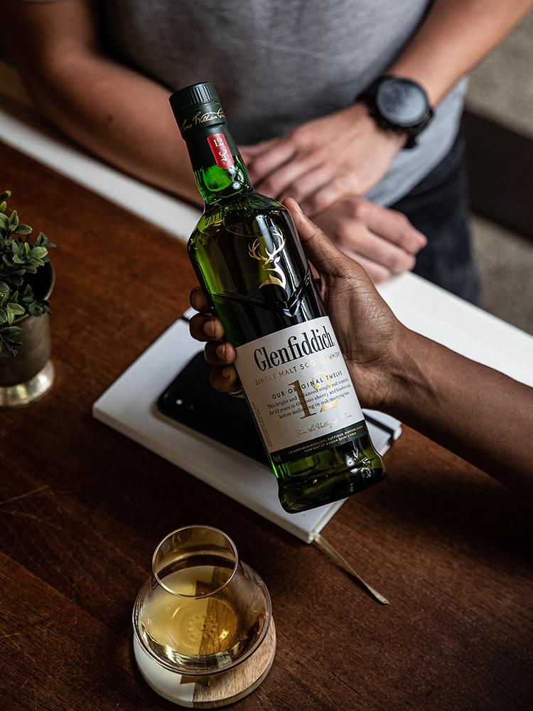 Glenfiddich 12 Year Old Bottle Breakdown In Hand