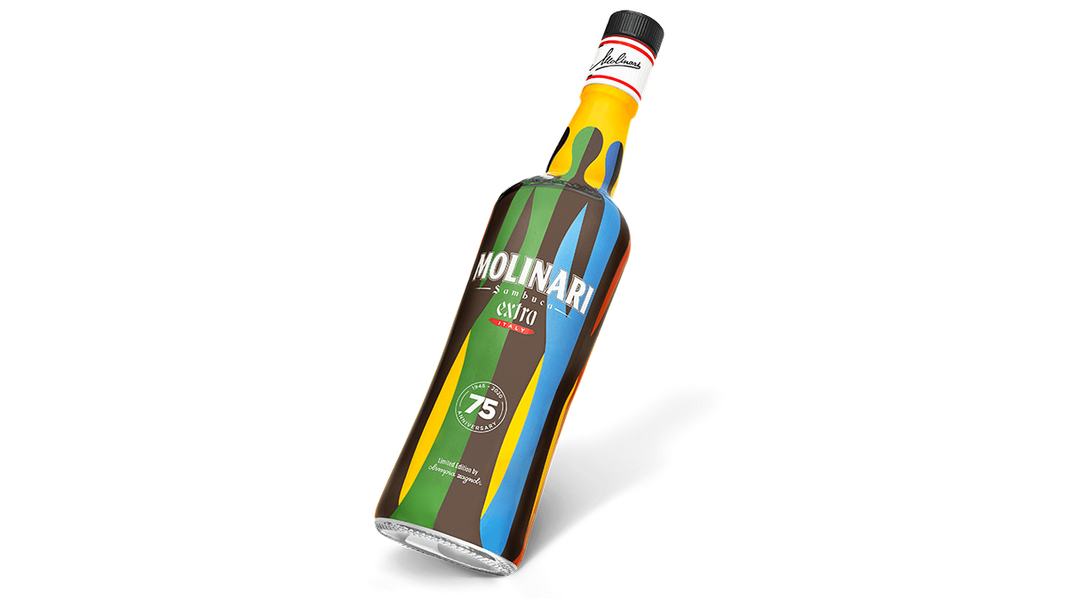 Molinari Celebrates 75th Anniversary With Limited Edition Sambuca Bottle By Olimpia Zagnoli