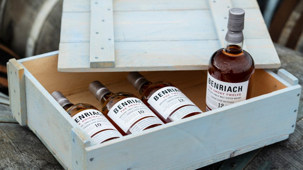 benriach smoky 12 standing up in range box