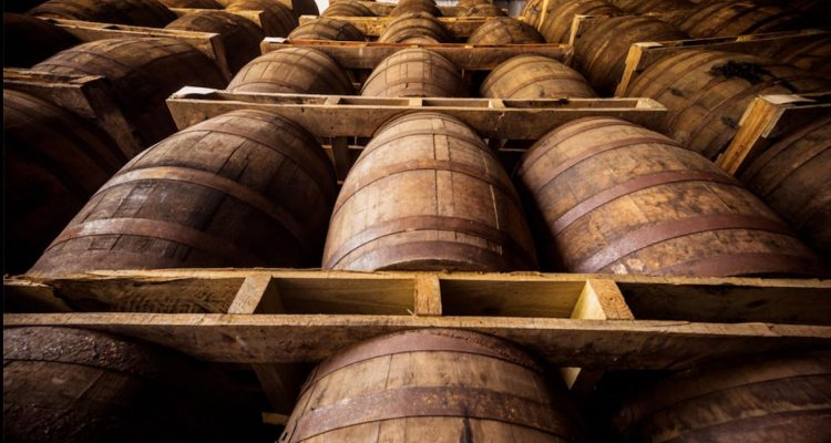 Ageing Rum wood barrels
